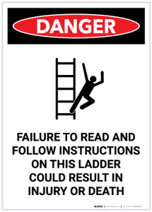 Danger: Follow Instructions on This Ladder with Icon Portrait - Label