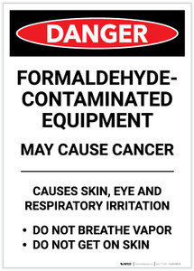Danger: Formaldehyde Contaminated Equipment Portrait - Label