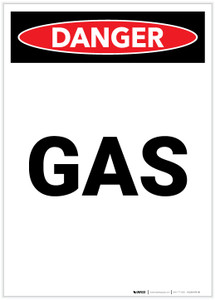 Danger: Gas Warning Portrait - Label