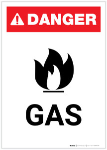 Danger: Gas with Icon Portrait - Label