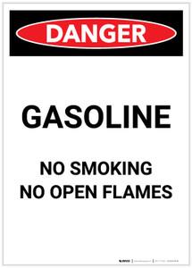 Danger: Gasoline - No Open Flame Portrait - Label
