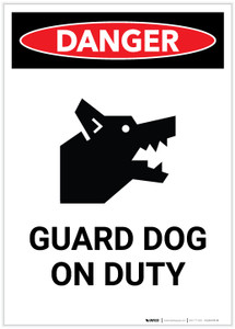 Danger: Guard Dog on Duty with Icon Portrait - Label