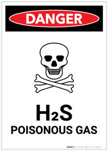 Danger: H2S Poisonous Gas (Hydrogen Sulfide) with Icon Portrait - Label