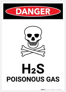 Danger: H2S Poisonous Gas (Hydrogen Sulfide) with Icon Portrait - Label