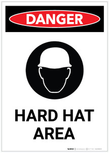 Danger: Hard Hat Area with Icon Portrait - Label