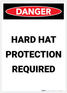 Danger: Hard Hat Protection Required Portrait - Label