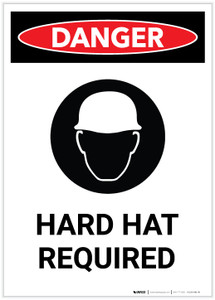 Danger: Hard Hat Required with Icon Portrait - Label