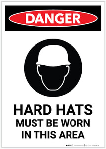 Danger: Hard Hats Must Be Worn with Icon Portrait - Label