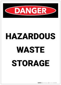 Danger: Hazardous Waste Storage Portrait - Label