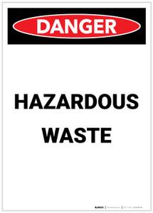 Danger: Hazardous Waste Portrait - Label