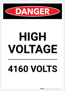 Danger: High Voltage 4160 Volts Portrait - Label