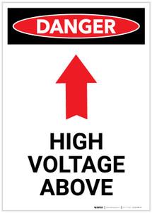 Danger: High Voltage Above With Arrow Portrait - Label