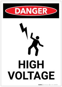 Danger: High Voltage with Icon Portrait - Label
