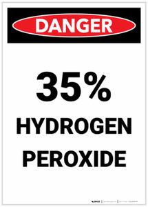 Danger: 35% Hydrogen Peroxide Portrait - Label