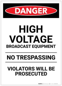 Danger: High Voltage Broadcast Equipment Portrait - Label