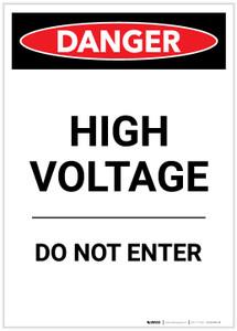 Danger: High Voltage Do Not Enter Portrait - Label