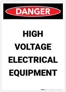 Danger: High Voltage Electrical Equipment Portrait - Label