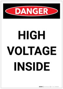 Danger: High Voltage Inside Portrait - Label