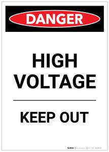 Danger: High Voltage Keep Out Portrait - Label