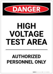 Danger: High Voltage Test Area Portrait - Label