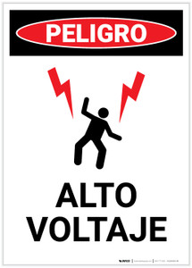 Danger: High Voltage With Graphic Spanish Portrait - Label