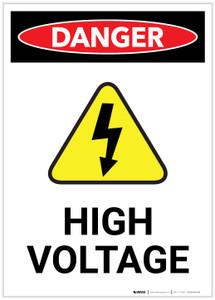 Danger: High Voltage With Hazard Icon Portrait - Label