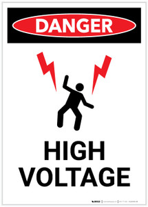 Danger: High Voltage With Lightning Bolts Graphic Portrait - Label