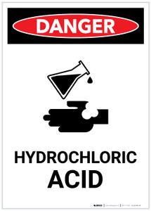 Danger: Hydrochloric Acid with Icon Portrait - Label