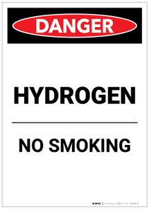 Danger: Hydrogen No Smoking Portrait - Label