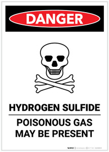Danger: Hydrogen Sulfide - Poisonous Gas Portrait - Label