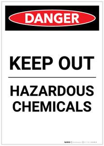Danger: Keep Out - Hazardous Chemicals Portrait - Label