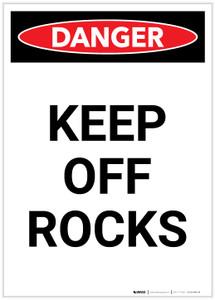 Danger: Keep Off Rocks Portrait - Label