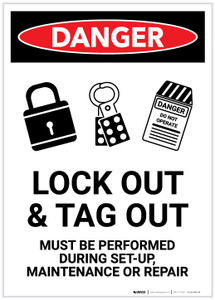 Danger: Lock Out Tag Out All Power Sources With Graphic Portrait - Label