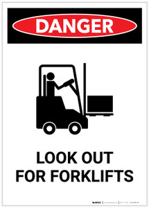 Danger: Look Out For Forklifts with Icon Portrait - Label