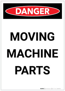Danger: Moving Machine Parts Portrait - Label