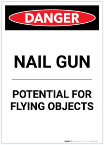 Danger: Nail Gun Flying Objects Portrait - Label