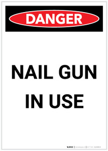 Danger: Nail Gun in Use Portrait - Label