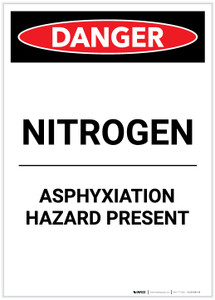 Danger: Nitrogen Asphyxiation Hazard Present Portrait - Label