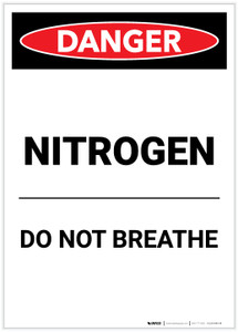 Danger: Nitrogen Do Not Breath Portrait - Label
