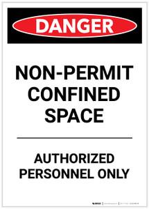 Danger: Non Permit Confined Space Portrait - Label