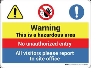 Warning - Hazardous Area - Wall Sign