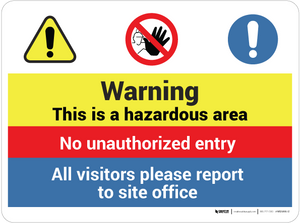 Warning - Hazardous Area - Wall Sign