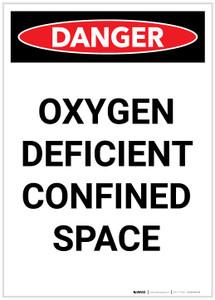 Danger: Oxygen Deficient Confined Space Portrait - Label