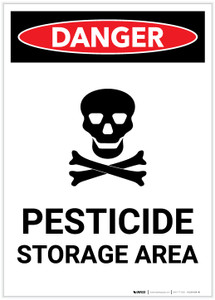 Danger: Pesticide Storage Area With Icon Portrait - Label