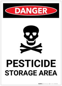 Danger: Pesticide Storage Area With Icon Portrait - Label