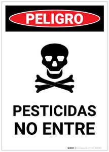 Danger: Pesticides No Entry Spanish with Icon Portrait - Label