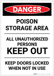Danger: Poison Storage Area Keep Out Keep Doors Locked Portrait - Label