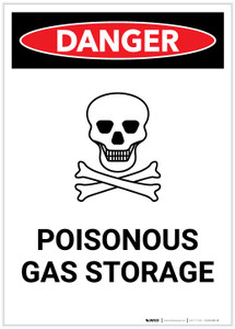 Danger: Poisonous Gas Storage with Icon Portrait - Label