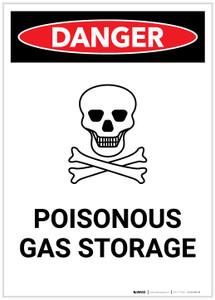 Danger: Poisonous Gas Storage with Icon Portrait - Label