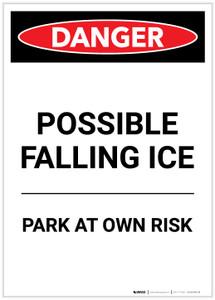Danger: Possible Falling Ice Parking Portrait - Label
